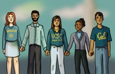 Illustration of UCSC and UC Berkeley grad students