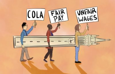 Illustration of people protesting for COLA