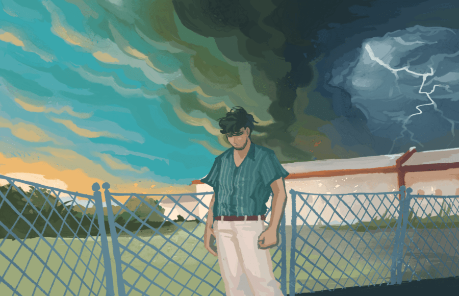 Illustrated version of Niall Horan's Heartbreak Weather album cover
