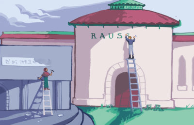 Illustration of Rausser being added to College of Natural Resources building