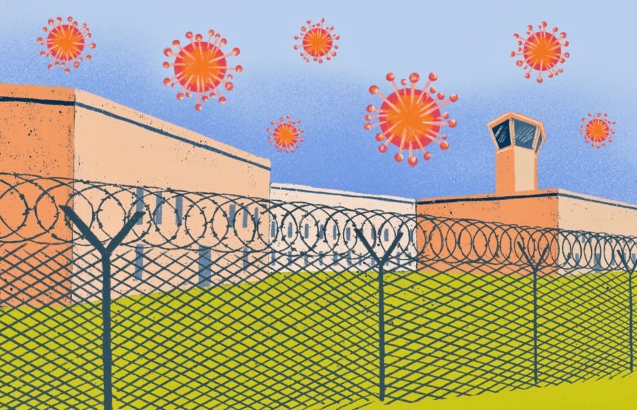 Illustration of prison with coronavirus