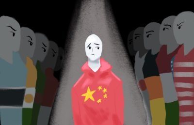 Illustration of countries glaring at China