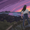 Illustration of a woman standing on a hill overlooking the Bay Area sunset