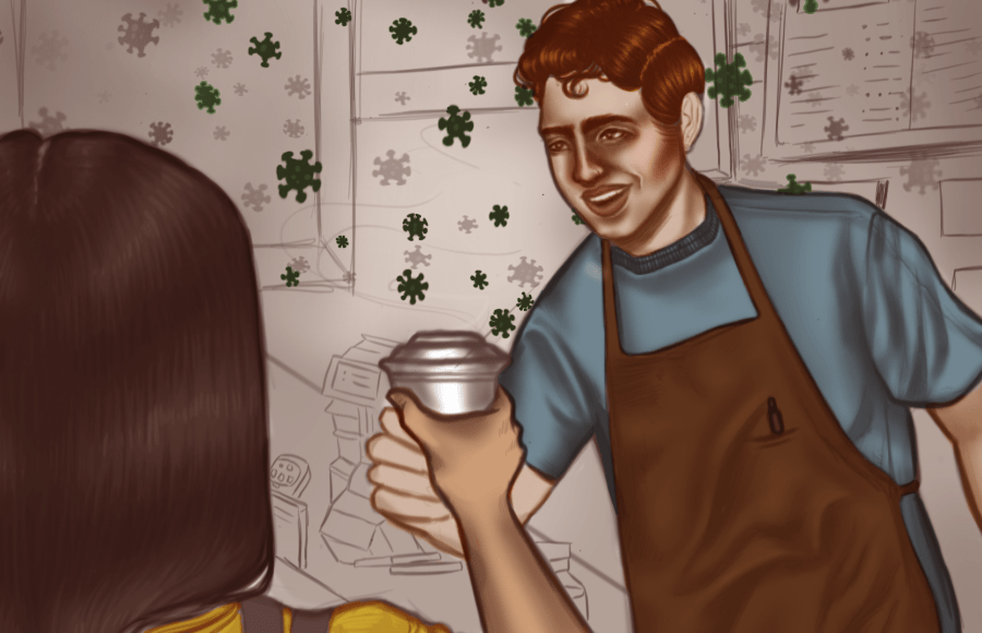 Illustration of barista handing coffee to customer with virus in air