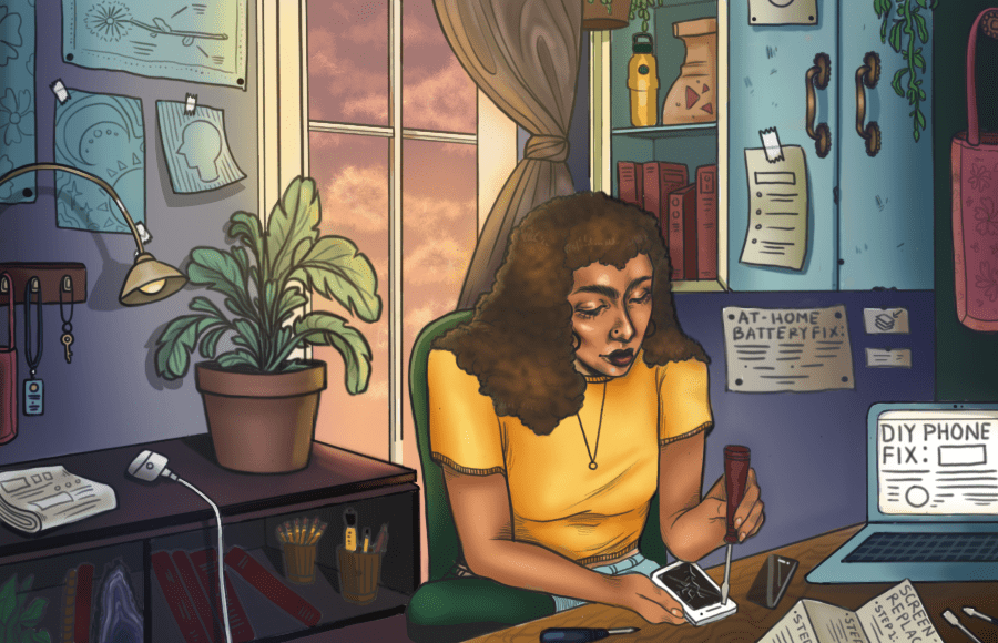Illustration of person fixing phone