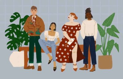 Illustration of people modeling clothes