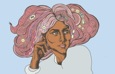 Woman with STEM themes in hair