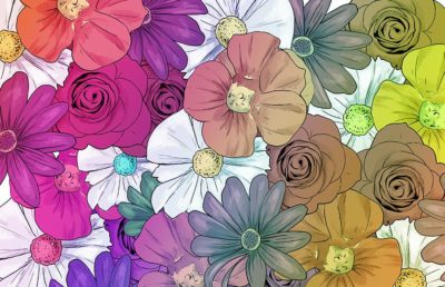 An illustration of a variety of colorful flowers from overhead.