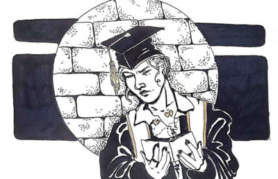 Illustration of college grad looking at wallet