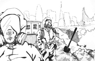 Illustration of people in hazmat suits