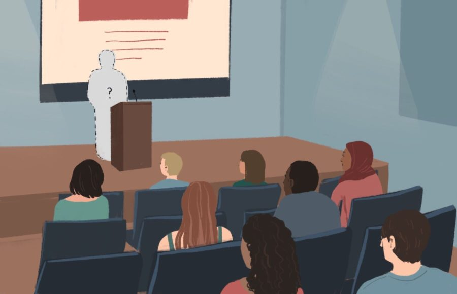 Illustration of students in a lecture hall with a missing lecture