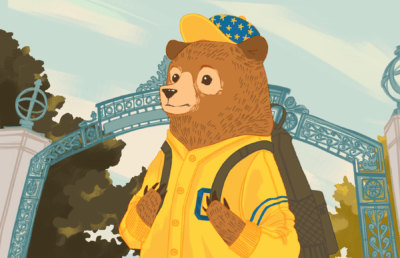 Illustration of a young-looking bear walking out of UC Berkeley's Sather Gate