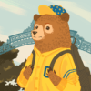 Illustration of a young-looking bear in UC Berkeley spirit gear walking out of Sather Gate