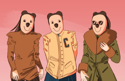 Illustration of Oski dressed as the Kardashians