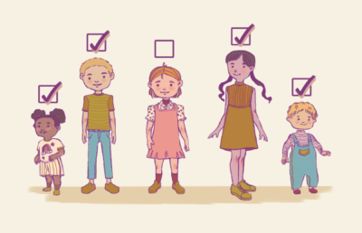 Illustration of children and toddlers of varying ages with check boxes above their heads