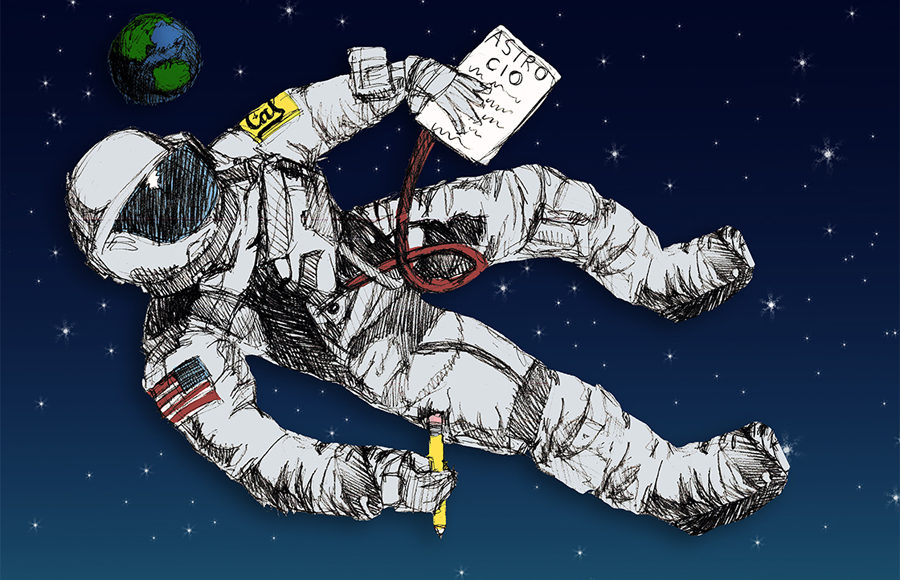 Illustration of a UC Berkeley student as an astronaut floating in space, holding astronomy homework
