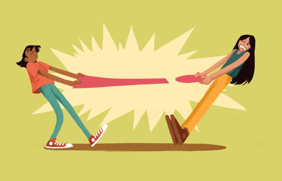 Illustration of two women in a tug-of-war with an exclamation point.