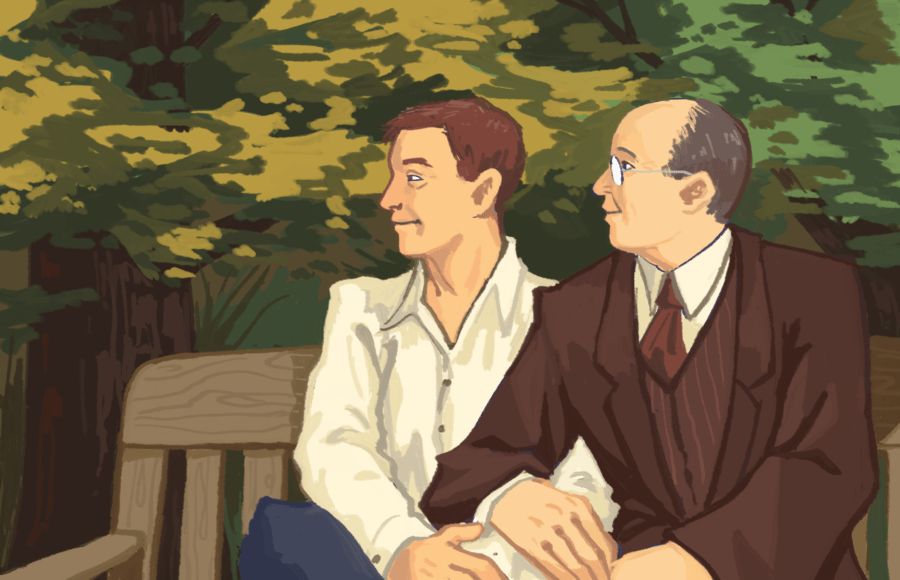 Illustration of artist's rendition of former Berkeley professor Witter Bynner and his partner