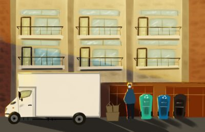 Illustraton of student moving out from apartment while practicing sustainability and social distancing