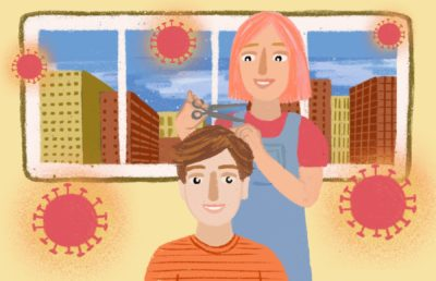 Illustration of a person getting their hair cut in a salon, surrounded by COVID-19 virus particles
