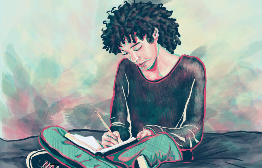 Illustration of a girl journaling while sitting on her bed, by Nishali Naik