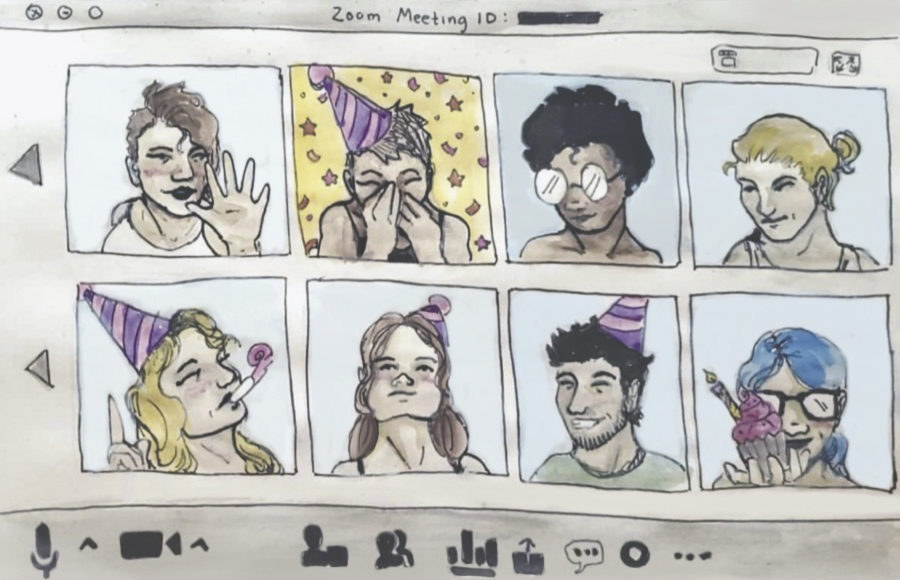Illustration of eight people wearing party hats and smiling, celebrating one person's birthday.