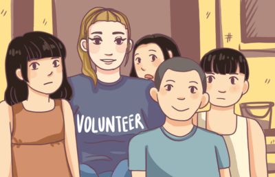 Illustration of a student volunteer working among younger children