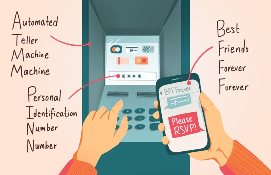 """Illustration of a person standing in front of an ATM, inputting their PIN. Various redundant acronyms are labeled, like """"ATM machine."""""""