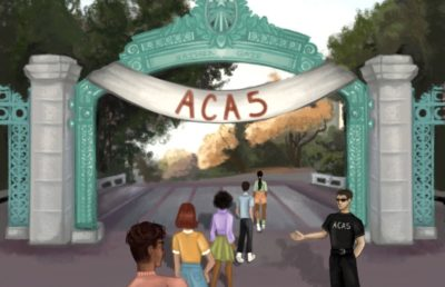 Illustration of students being let into UC Berkeley by a bouncer symbolizing ACA 5, underneath Sather Gate