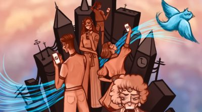 Illustration of people in a city looking at their phones in confusion as a blue bird representing Twitter flies away