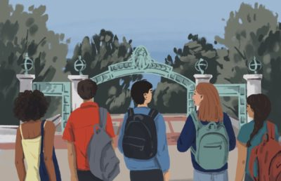 Illustration of a diverse group of college students looking up at UC Berkeley's Sather Gate