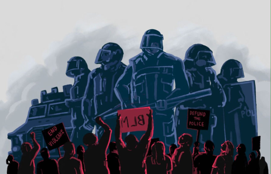 Illustration of a group of police officers towering over a group of protesters