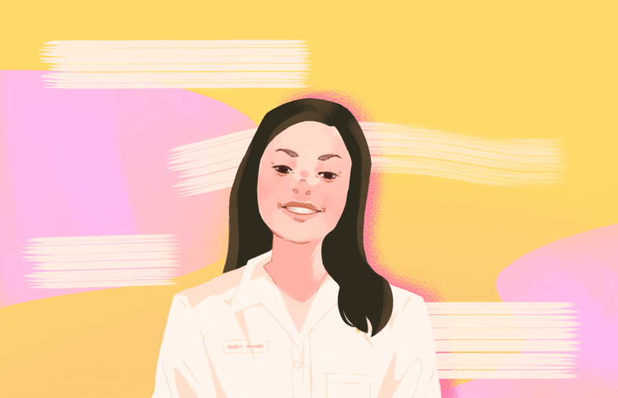 Illustration of Michelle, an Asian-American pharmacist, in bright, animated colors