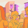 Illustration of different people with different occupations walking through a cheery city
