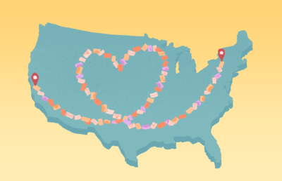 Illustration of a map of the United States in which New York and California are connected by a trail of letters tracing a heart