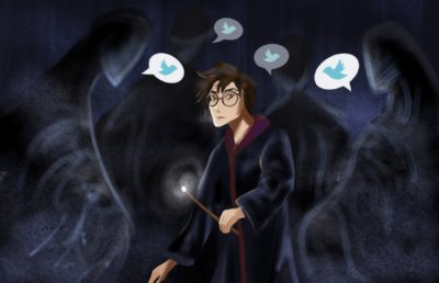 Illustration of a concerned Harry Potter surrounded by Dementors, with Twitter-related speech bubbles
