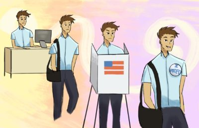 Illustration of an office worker traveling to a polling place and voting