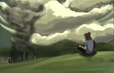 "Illustration of Ellie, a character from ""The Last of Us,"" sitting on a hill overlooking a post-apocalyptic landscape"