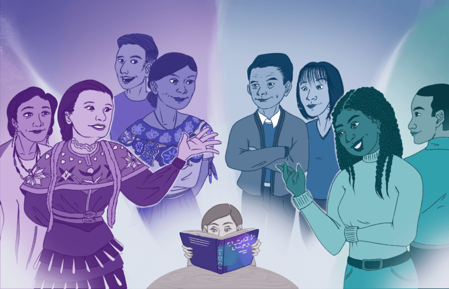 Illustration of a person reading a textbook, surrounded by images of people of different ethnicities telling them about their histories