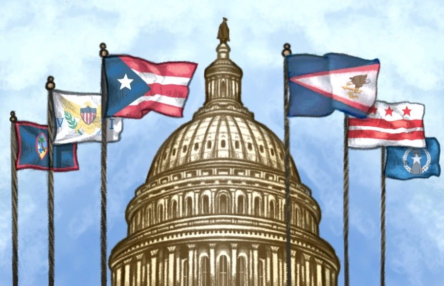 Illustration of the flags of Guam, the Virgin Islands, Puerto Rico, American Samoa, Washington DC and the Northern Mariana Islands flying in front of the Capitol building