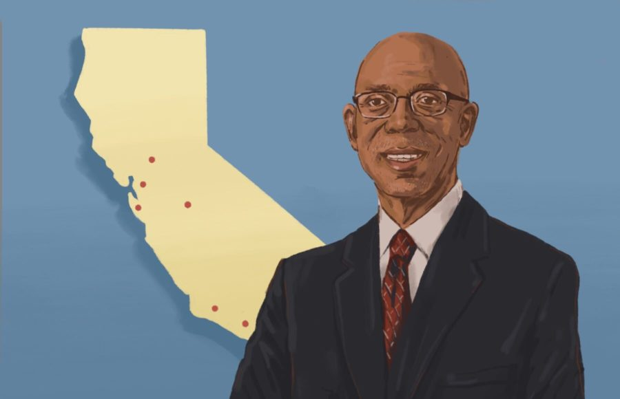 Illustration of Dr. Michael Drake, incoming UC president