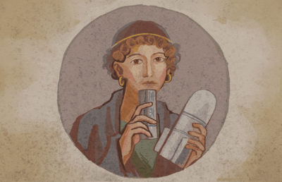 Illustration in the style of a Roman fresco of a woman holding a U.S. bomb and CTS tear gas
