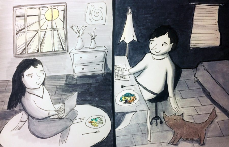 Illustration of two people on a virtual date, eating food together while on their laptops in different places