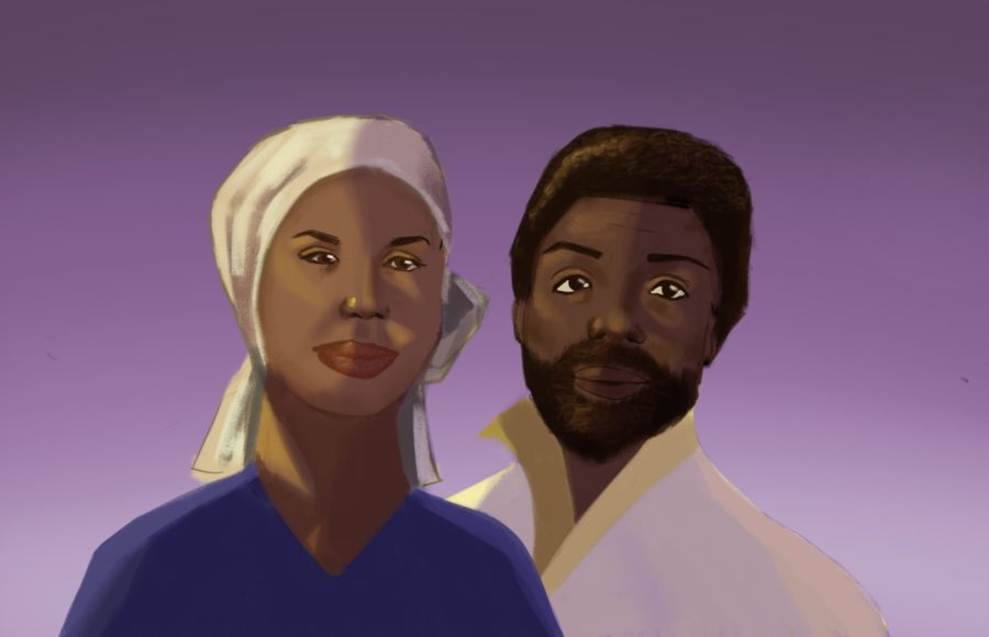 Illustration of Black playwrights Ntozake Shange and Amiri Baraka