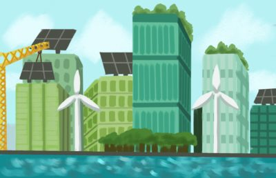 Illustration of a utopian-looking, environmentally-friendly city, with windmills and solar panels being installed