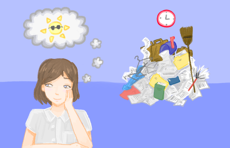 Illustration of a person daydreaming about the summer while ignoring a pile of unfinished work and chores