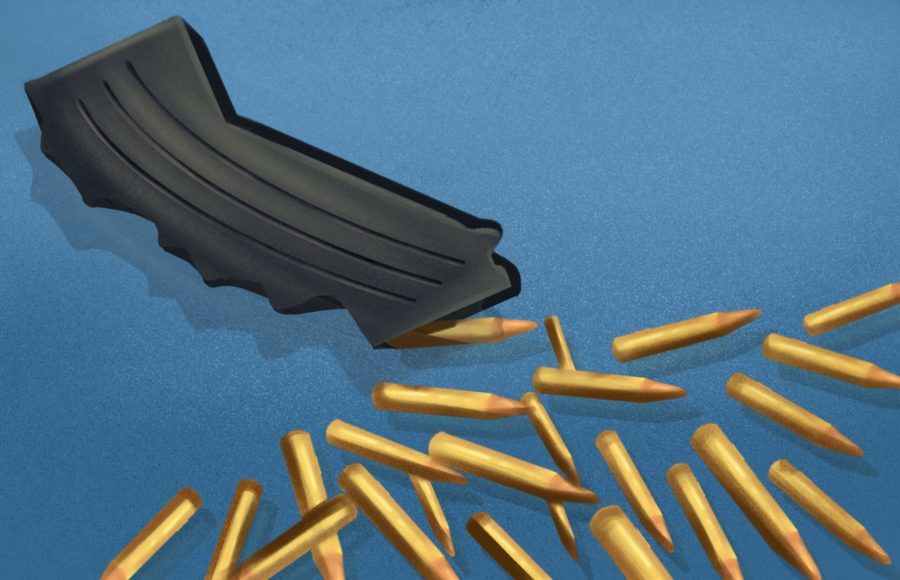 Illustration of bullets spilling out of a Large Capacity Magazine (LCM) in the shape of California.