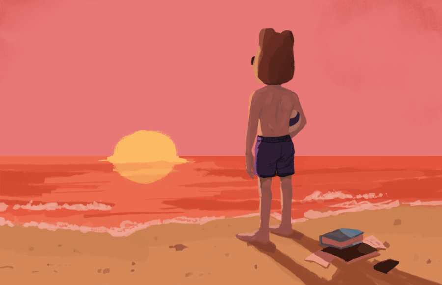 Illustration of a man in an Oski mask looking at the sea