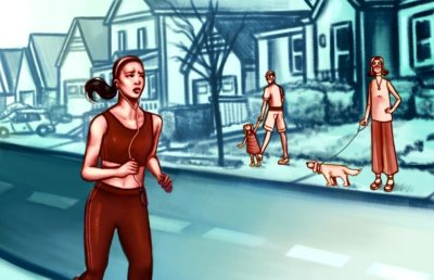 Illustration of an Asian woman jogging through a neighborhood while abiding by social distancing guidelines, while bystanders watch her in suspicion