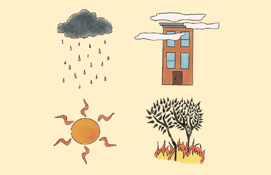 Illustration of different symbols representing the variance of weather in the bay area, including heat, rain, fog, and wildfires.